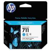 HP HP 711, (CZ134A) 3-pack Cyan Original Ink Cartridges Item: HEWCZ134A