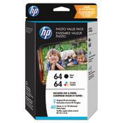 HP HP 64, (Z2H77AN) 2-pack Black/Tri-color Photo Ink Cartridges Item: HEWZ2H77AN