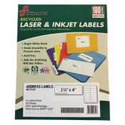7530016736513 SKILCRAFT Recycled Laser and Inkjet Labels, Inkjet/Laser Printers, 1.33 x 4, White, 14/Sheet, 100 Sheets/Box Item: NSN6736513