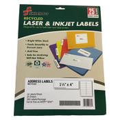 7530016736514 SKILCRAFT Recycled Laser and Inkjet Labels, Inkjet/Laser Printers, 1.33 x 4, White, 14/Sheet, 25 Sheets/Pack Item: NSN6736514